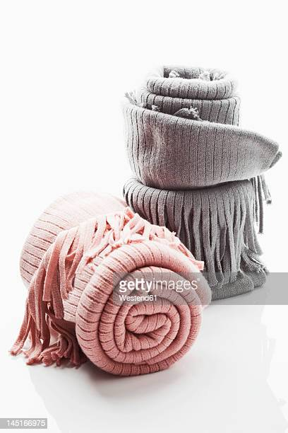 Woollen blanket on white background, close up