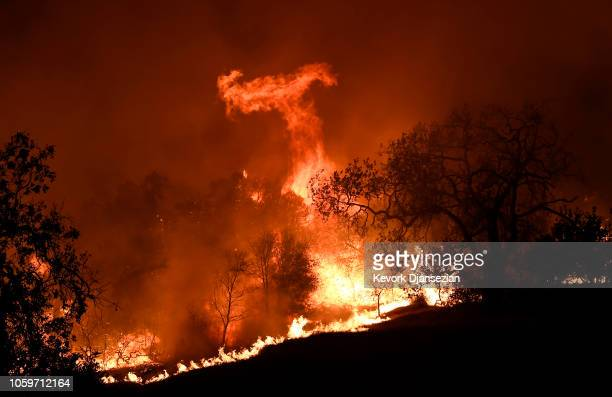 Woolsey Fire continues to burn without any containment on November 9 2018 in Agoura Hills California About 75000 homes have been evacuated in Los...