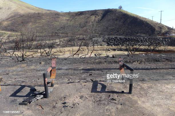 Woolsey fire creates burned out landscape and desolation in Corral Canyon Park along the Pacific Coast Highway in Malibu California on December 16...