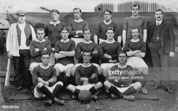 Woolwich Arsenal Football Club Left to right back row R Dunmore Jimmy Sharp James Ashcroft Percy Sands Archie Cross Phil Kelso Middle Row left to...
