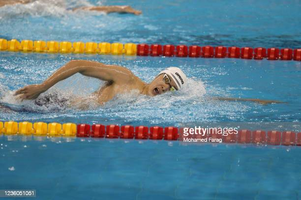 Woomin Kim of South Korea competes in the Men's 1500m Individual Freestyle during day Two of the FINA Swimming World Cup Doha at Hamad Aquatic Centre...