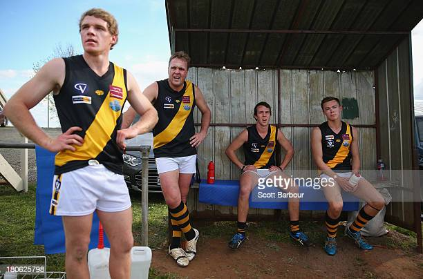 Woori Yallock players look on from the players bench during the Yarra Valley Mountain District Football League Division 1 Seniors Preliminary Final...