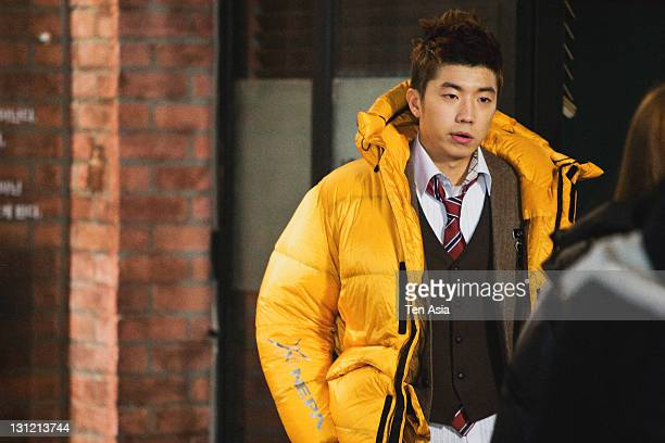 WooYoung is seen during the KBS 2TV Drama 'Dream High' filming on January 25 2011 in Gyeonggido South Korea