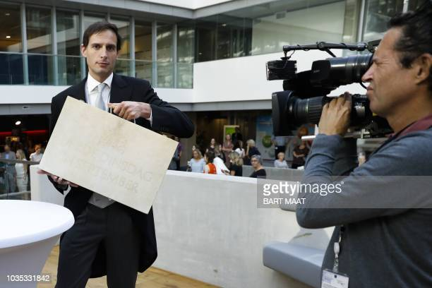Wopke Hoekstra the Dutch minister of Finance collects the briefcase holding the Dutch Budget Memorandum from the ministry of Finance in The Hague on...