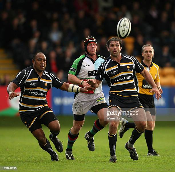 Worcester Captain, Pat Sanderson eyes the ball during the Guinness Premiership match between Worcester Warriors and Harlequins at Sixways Stadium on...