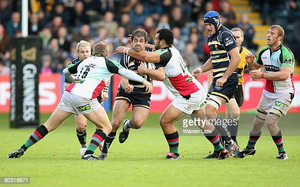 Worcester Captain, Pat Sanderson is tackled during the Guinness Premiership match between Worcester Warriors and Harlequins at Sixways Stadium on...