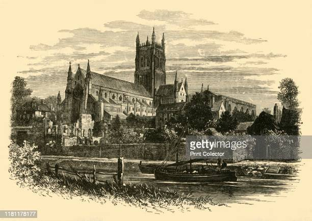 Worcester Cathedral from the River' 1898 Worcester Cathedral on the banks of the River Severn built between 1084 and 1504 underwent major restoration...