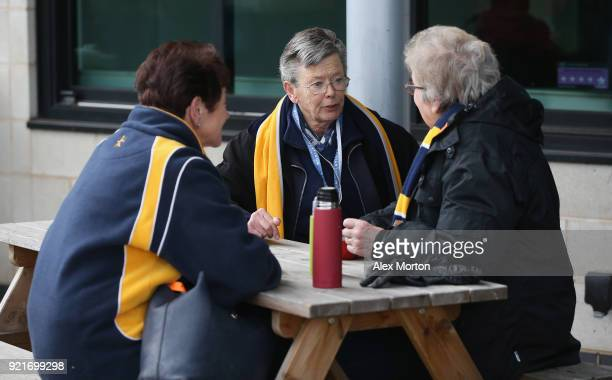 Worcester fans prior to the Aviva Premiership match between Worcester Warriors and Gloucester Rugby at Sixways Stadium on February 17 2018 in...