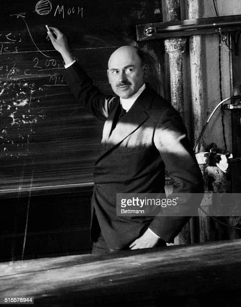 Dr Robert H Goddard rocket pioneer during a demonstration in his lab Worcester Mass Photo