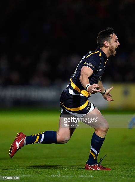 Worcester player Ryan Lamb celebrates after converting the final try to win the game during the Greene King IPA Championship final second leg match...