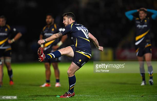 Worcester player Ryan Lamb lands the final conversion after the final try to win the game during the Greene King IPA Championship final second leg...