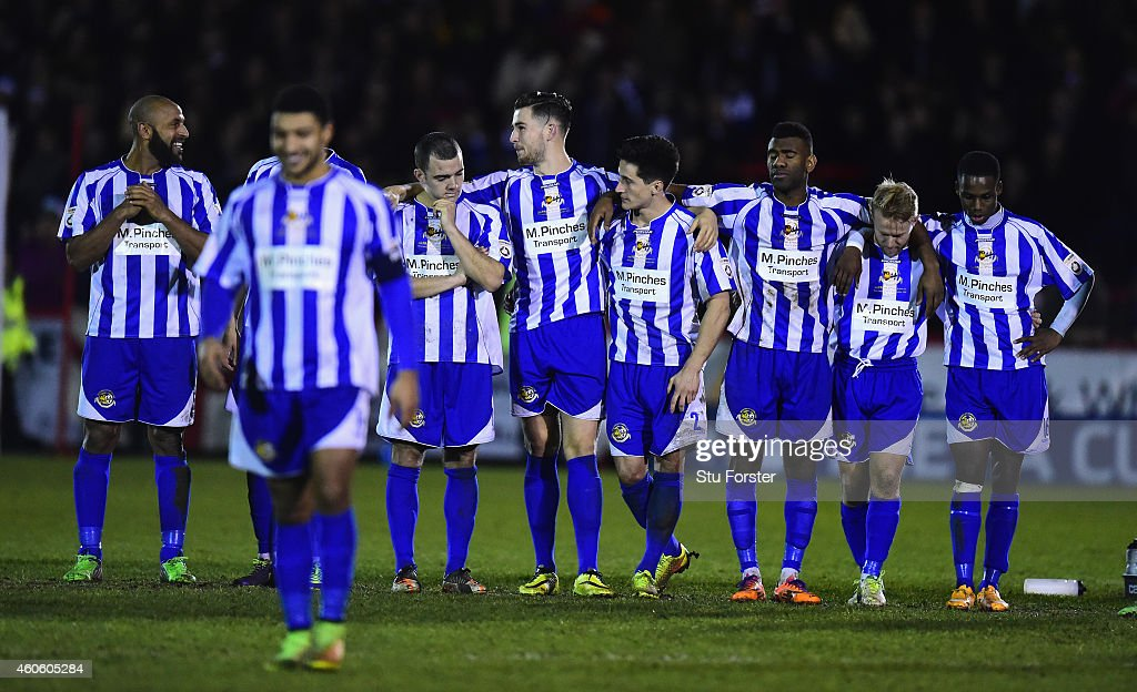 Worcester players react during the penalty shoot out during the FA Cup Second Round Replay between Worcester City and Scunthorpe United at Aggborough on December 17, 2014 in Worcester, England.