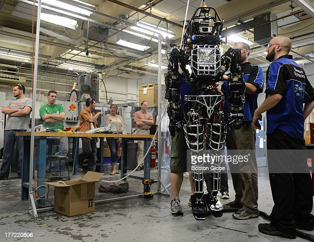 Worcester Polytechnic Institute students received ATLAS a 330lb humanoid robot that they will use to compete in a Darpa robot competition July 23 2013