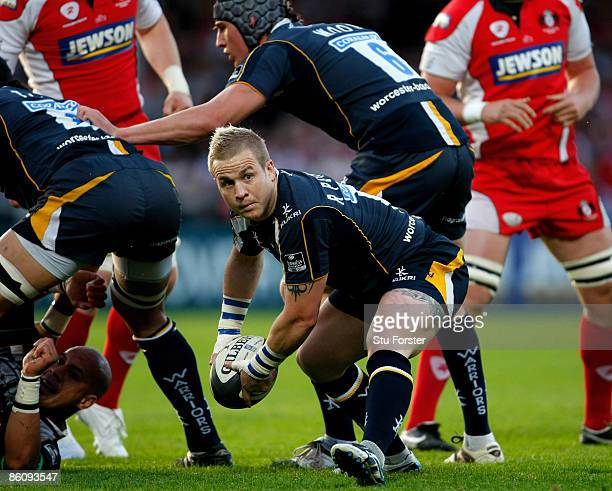 Worcester scrumhalf Ryan Powell releases the ball during the Guinness Premiership match between Gloucester and Worcester Warriors at Kingsholm...