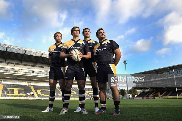 Worcester Warriors Argentina Internationals Leonardo Senatore Ignacio Mieres Mariano Galarza and Agustin Creevy pose for a picture at Sixways Stadium...