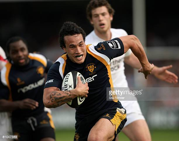 Worcester Warriors centre Rico Gear races away to score during the Guinness Premiership game between Worcester Warriors and Newcastle Falcons at...