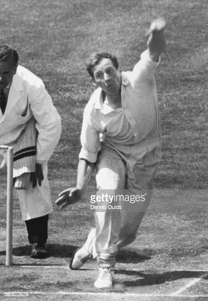 Worcestershire and England cricketer Norman Gifford bowls lefthanded at the Oval London June 1964