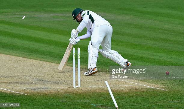 Worcestershire batsman Alexei Kervezee has his leg stump removed by a ball from Somerset bowler Peter Trego during day two of the Division One LV...