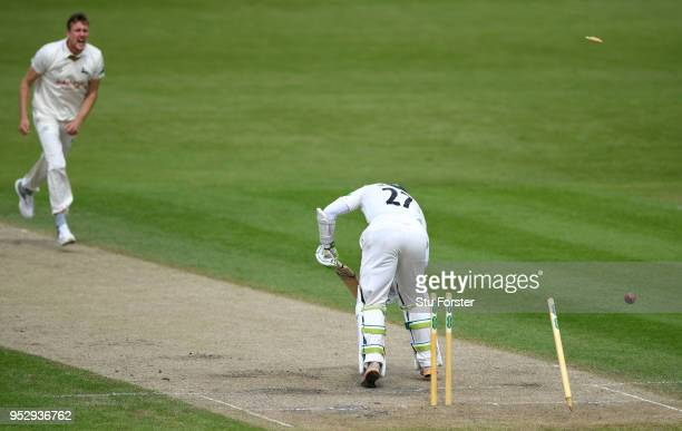 Worcestershire batsman Daryl Mitchell is bowled by Notts bowler Jake Ball during day four of the Specsavers County Championship Division One match...