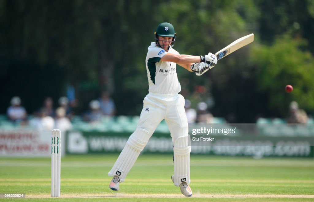 Worcestershire batsman George Rhodes hits out during the Specsavers County Championship Division Two between Worcestershire and Kent at New Road on June 20, 2017 in Worcester, England.