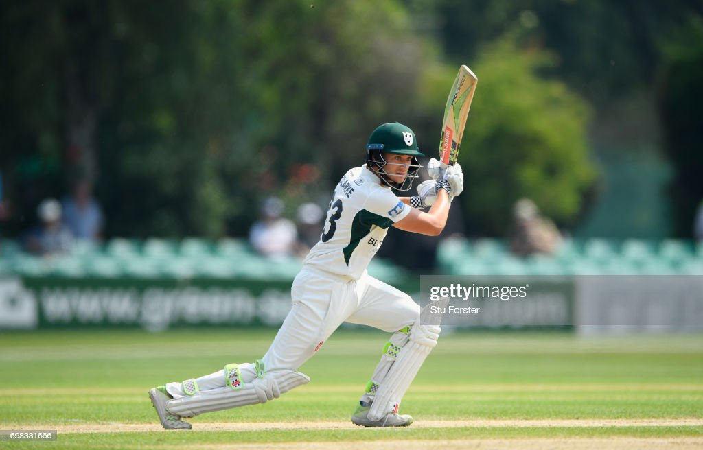 Worcestershire batsman Joe Clarke hits out during day two of the Specsavers County Championship Division Two between Worcestershire and Kent at New Road on June 20, 2017 in Worcester, England.