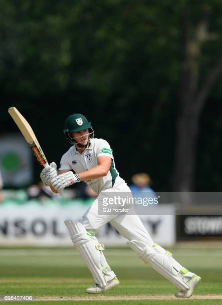 Worcestershire batsman Joe Clarke hits out during day two of the Specsavers County Championship Division Two between Worcestershire and Kent at New...