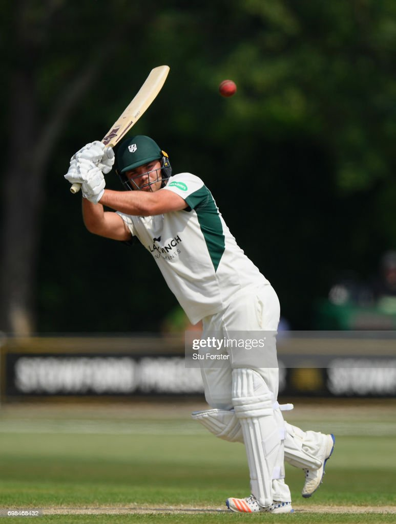 Worcestershire batsman Joe Leach hits out during the Specsavers County Championship Division Two between Worcestershire and Kent at New Road on June 20, 2017 in Worcester, England.
