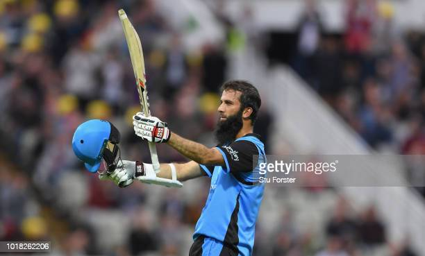 Worcestershire batsman Moeen Ali celebrates his century during the Vitality Blast match between Birmingham Bears and Worcestershire Royals at...