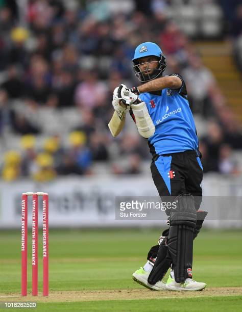 Bears batsman Ed Pollock hits out during the Vitality Blast match between Birmingham Bears and Worcestershire Royals at Edgbaston on August 17 2018...