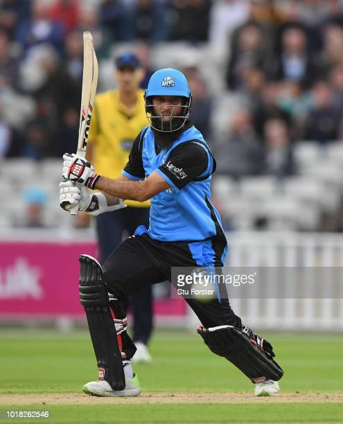 Worcestershire batsman Moeen Ali hits out during his century deuring the Vitality Blast match between Birmingham Bears and Worcestershire Royals at...