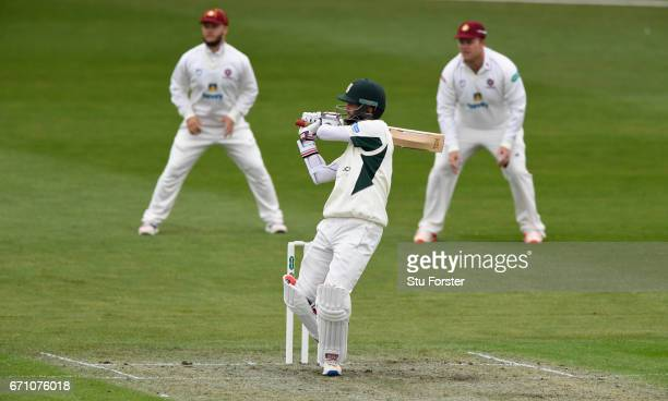 Worcestershire batsman Moeen Ali pulls a short ball to the boundary during day one of thr Specsavers County Championship Division Two at New Road on...