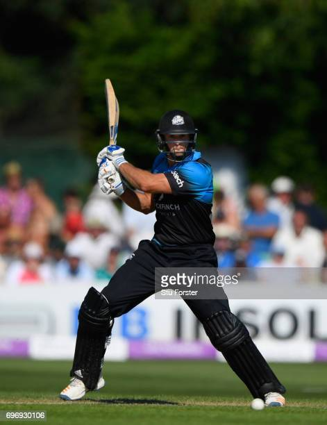 Worcestershire batsman Ross Whiteley hits out during the Royal London OneDay Cup Semi Final between Worcestershire and Surrey at New Road on June 17...