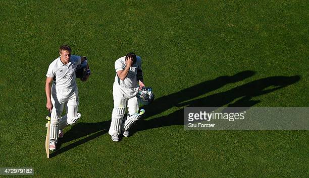 Worcestershire batsmen Charlie Morris and Daryl Mitchell leave the field after day three of the LV County Championship Divison One match between...