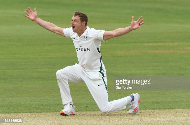 Worcestershire bowler Charlie Morris appeals for a wicket during Day three of the LV= Insurance County Championship match between Durham and...