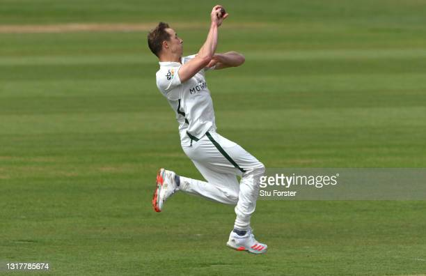 Worcestershire bowler Charlie Morris in bowling action during day one of the LV=Insurance County Championship match between Durham v Worcestershire...