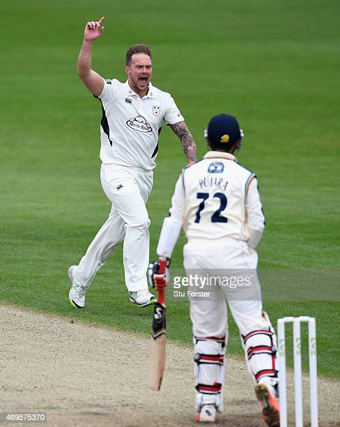 Worcestershire bowler Gareth Andrew celebrates after dismissing Yorkshire batsman Cheteshwar Pujara for a duck during day two of the LV County...