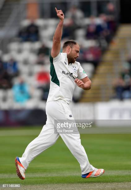 Worcestershire bowler Joe Leach celebrates after dismissing Robert Newton during day one of thr Specsavers County Championship Division Two at New...