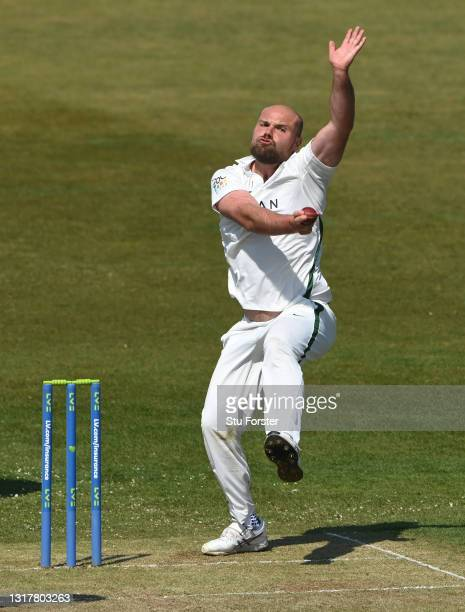 Worcestershire bowler Joe Leach in bowling action during day one of the LV=Insurance County Championship match between Durham v Worcestershire at...