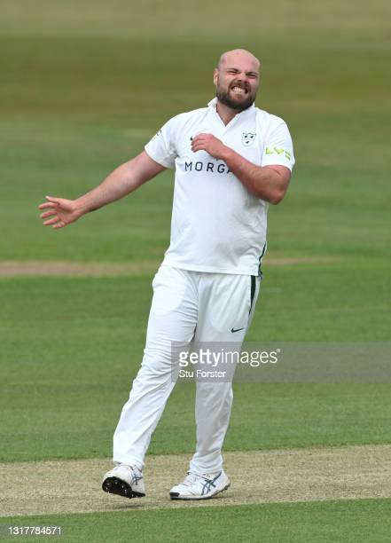 Worcestershire bowler Joe Leach reacts during day one of the LV=Insurance County Championship match between Durham v Worcestershire at Emirates...