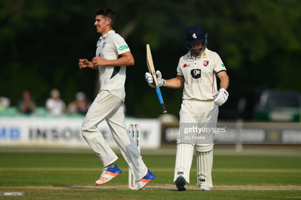 Worcestershire bowler Josh Tongue celebrates after dismissing Sean Dickson of Kent during the Specsavers County Championship Division Two between Worcestershire and Kent at New Road on June 20, 2017 in Worcester, England.