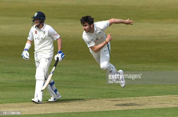 Worcestershire bowler Josh Tongue in bowling action during day one of the LV=Insurance County Championship match between Durham v Worcestershire at...