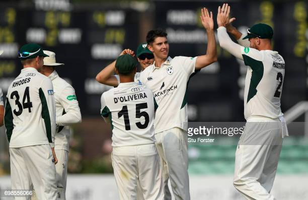 Worcestershire bowler Josh Tongue is congratulated by team mates after dismissing Sam Northeast of Kent during the Specsavers County Championship...