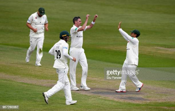 Worcestershire bowler Steve Magoffin celebrates after dismissing Varun Chopra during day one of the Specsavers County Championship Division One match...