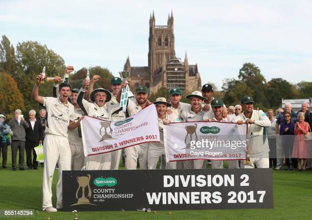 Worcestershire celebrate after winning the Specsavers County Championship division two title during the Specsavers County Championship Division Two...