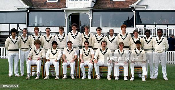 Worcestershire County Cricket Club at New Road in Worcester circa April 1983 Back row left to right Damian D'Oliveira Mark Scott Steve Watkins Mike...