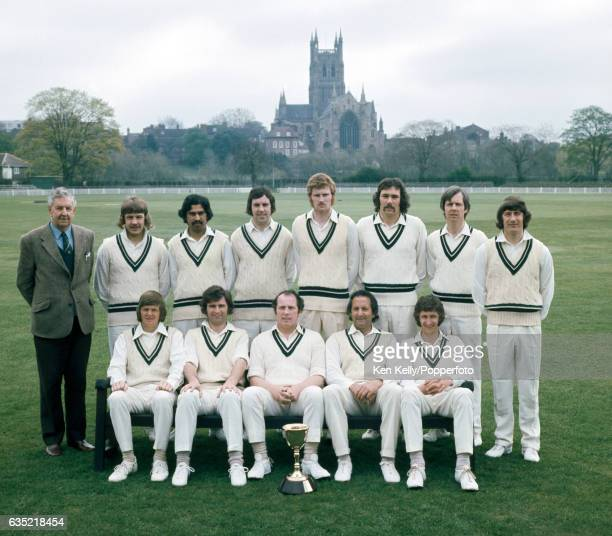 Worcestershire cricket team at New Road Worcester circa April 1975 with the County Championship Trophy Worcestershire won the Championship in 1974...