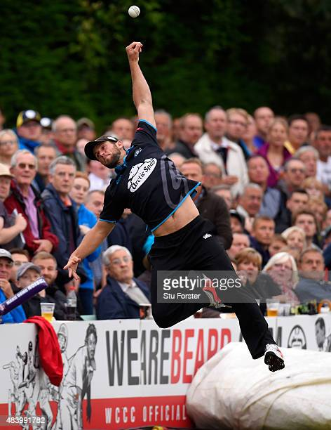 Worcestershire fielder Ross Whiteley narrowly avoids the ball going over the boundary during the NatWest T20 Blast quarter final match between...