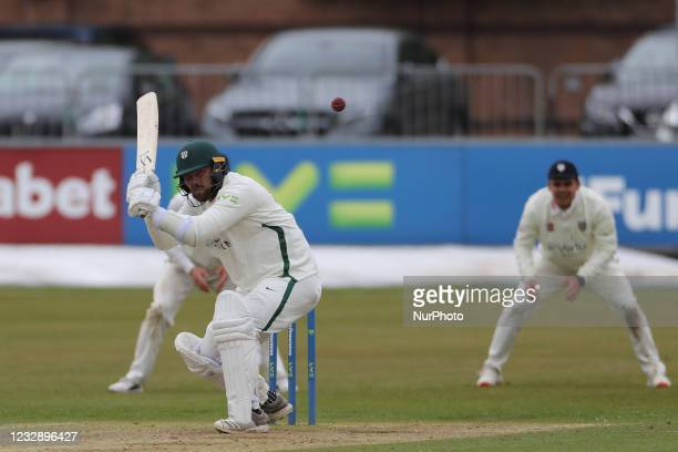 Worcestershire Joe Leech avoids a bouncer from Ben Raine during the LV= County Championship match between Durham County Cricket Club and...