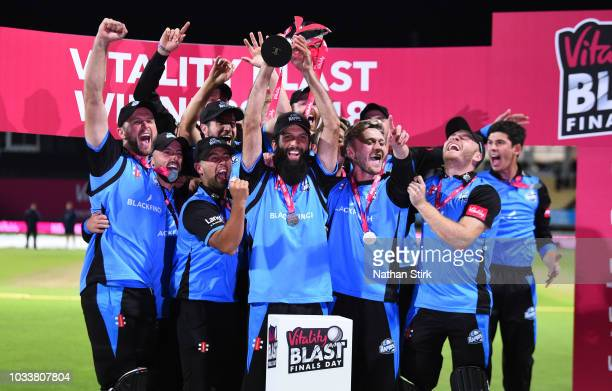 Worcestershire players celebrate after beating Sussex during the Vitality Blast Final match between Worcestershire Rapids and Sussex Sharks at...