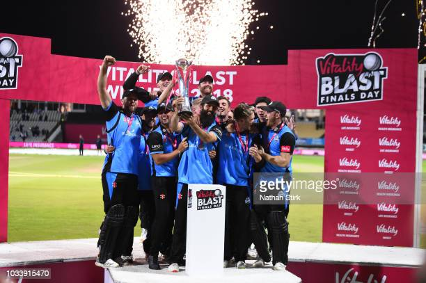 Worcestershire players celebrate after defeating Sussex during the Vitality Blast Final match between Worcestershire Rapids and Sussex Sharks at...